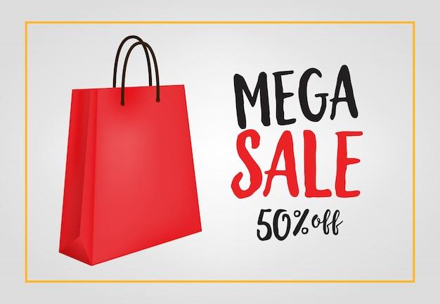 Mega venda, cinquenta por cento de desconto letras com sacola de compras