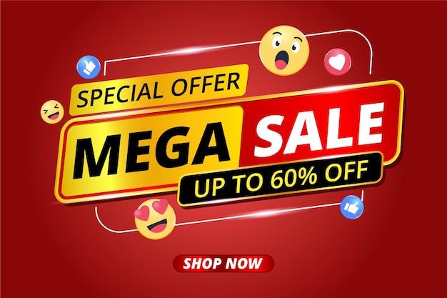 Mega venda de banner e ícone de emoji