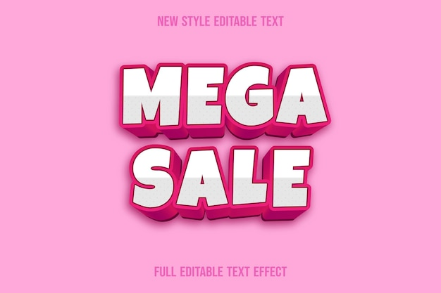Mega venda de efeito de texto com cores branco e rosa