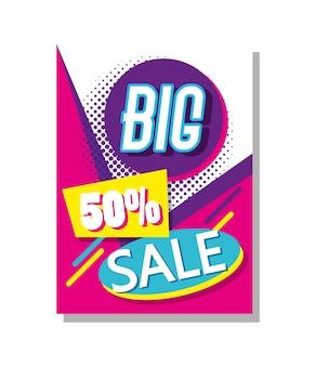 Mega venda descontos cartaz comercial colorido