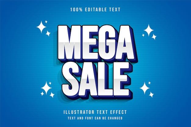Mega venda, efeito de texto editável gradação azul e camadas roxas estilo de texto