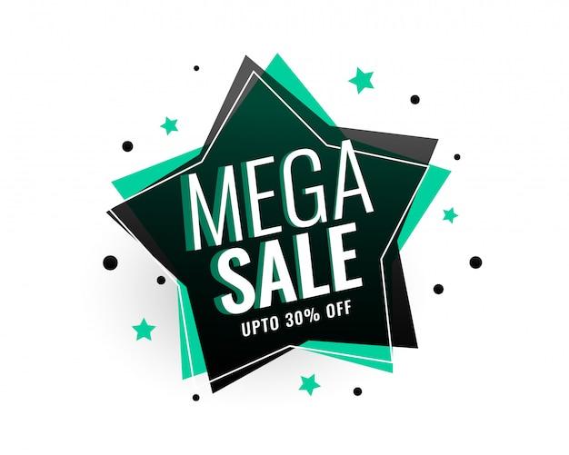 Mega venda estrela tag banner design