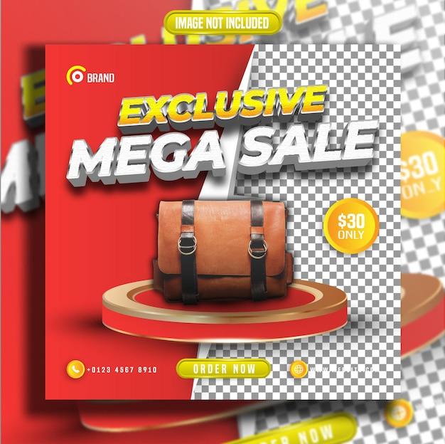Mega venda exclusiva com postagem de mídia social de fundo transparente