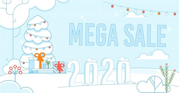 Mega venda no cartaz promocional de natal e ano novo