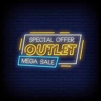 Mega venda sinais de néon estilo texto