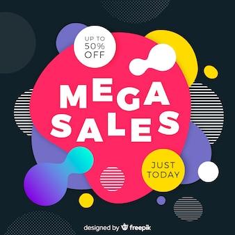 Mega vendas fundo com formas abstratas