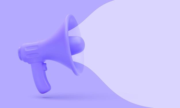 Megafone 3d realista com conceito de marketing de bolha.