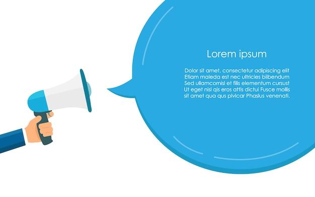 Megafone azul para comunicação e discurso modelo de bolha
