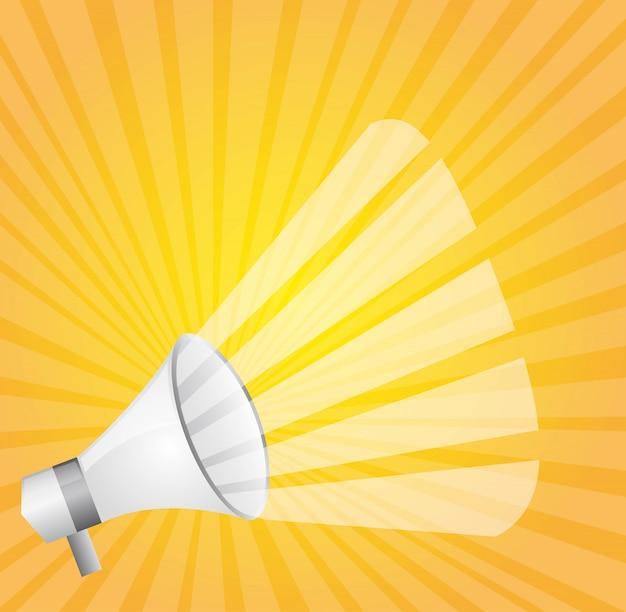 Megafone branco sobre ilustração vetorial de fundo amarelo