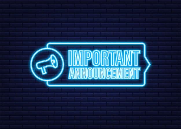Megafone com anúncio importante. ícone de néon. banner do megafone. designer de web. ilustração em vetor das ações.