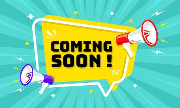 Megafone com balão de fala e anúncio em breve