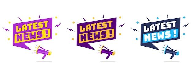 Megafone com balão de fala e as últimas notícias