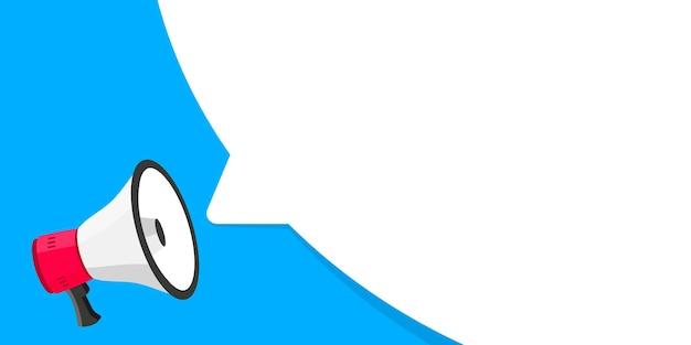 Megafone com banner de balão de fala alto-falante pode ser usado para negócios e publicidade