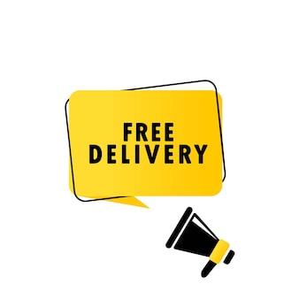 Megafone com banner de bolha do discurso de entrega gratuita. alto-falante. pode ser usado para negócios, marketing