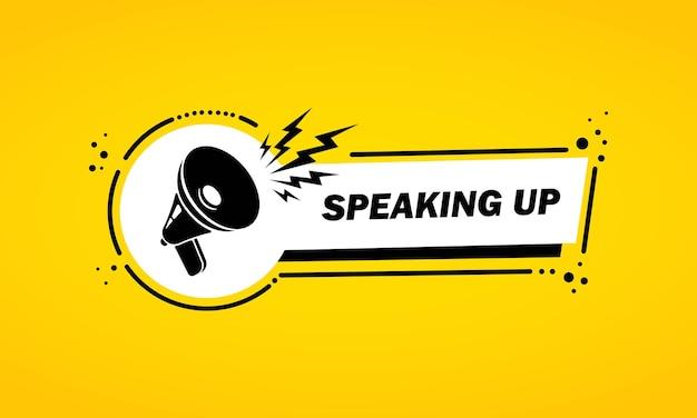 Megafone com banner de bolha do discurso de falar. alto-falante. rótulo para negócios, marketing e publicidade. vetor em fundo isolado. eps 10.