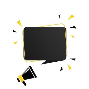 Megafone com banner de bolha do discurso em branco. alto-falante. pode ser usado para negócios, marketing e publicidade. vetor eps 10. isolado no fundo branco.