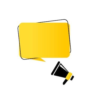 Megafone com banner de bolha do discurso em branco. alto-falante. pode ser usado para negócios, marketing