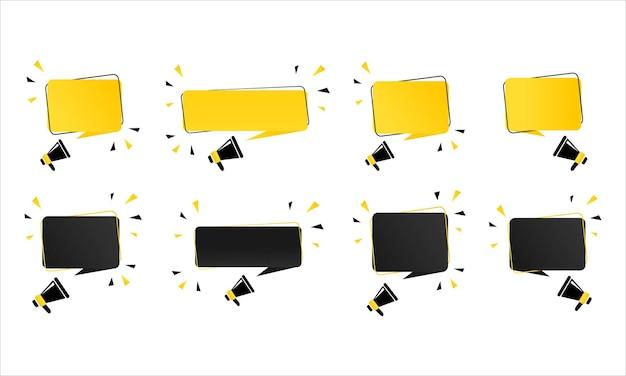 Megafone com banner de bolha do discurso vazio. alto-falante. pode ser usado para negócios, marketing e publicidade. vetor eps 10. isolado no fundo branco.