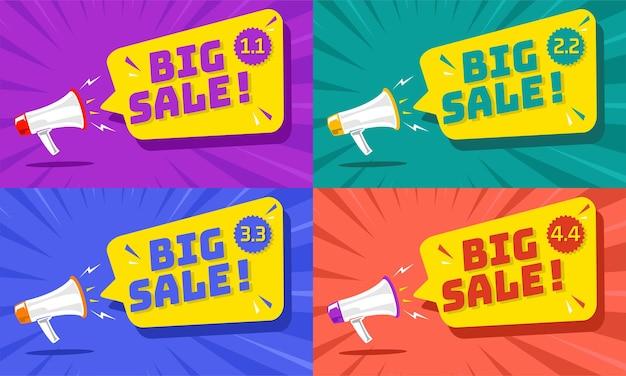 Megafone com banner de venda promoção coleção melhor preço oferta