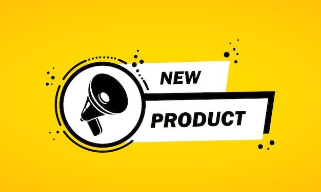 Megafone com novo banner de bolha do discurso do produto. alto-falante. rótulo para negócios, marketing e publicidade. vetor em fundo isolado. eps 10.