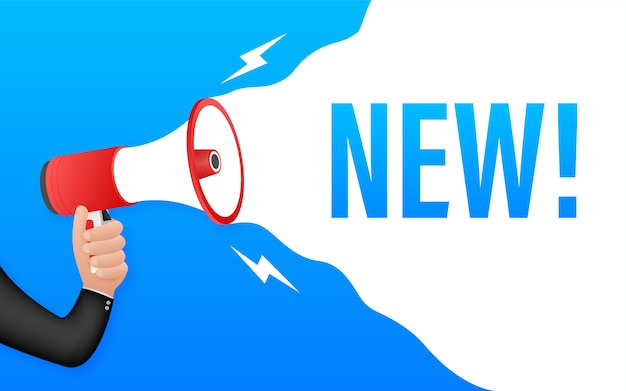 Megafone com novo. banner do megafone. rede . ilustração das ações.