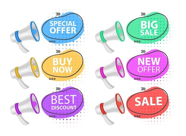 Megafone com oferta especial balão de fala oferta especial banner de alto-falante para empresas