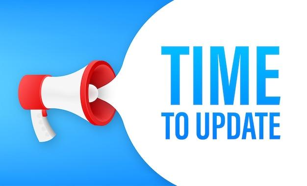 Megafone com tempo de atualização. banner do megafone. designer de web.