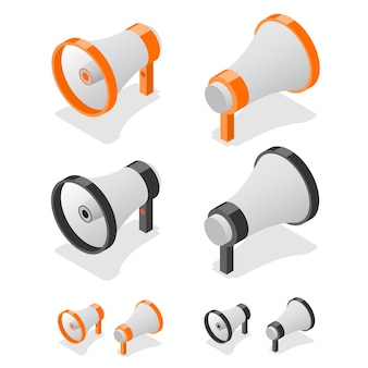 Megafone conjunto símbolo de alto-falante. vista isométrica.