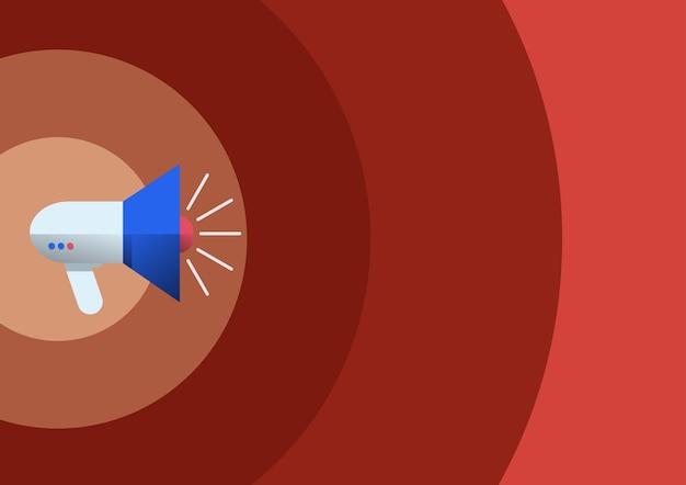 Megafone de desenho de linha produzindo ilustração de anúncio recente de um alto-falante de megafone