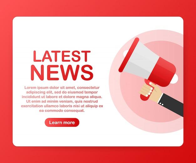Megafone de mão com texto últimas notícias modelo