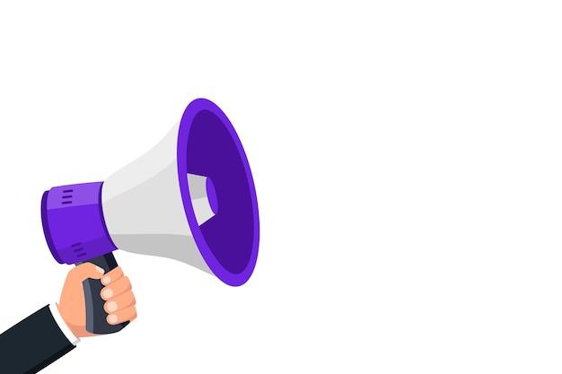 Megafone de mão segura com espaço de cópia megafone alto-falante, alto-falante, megafone, alerta