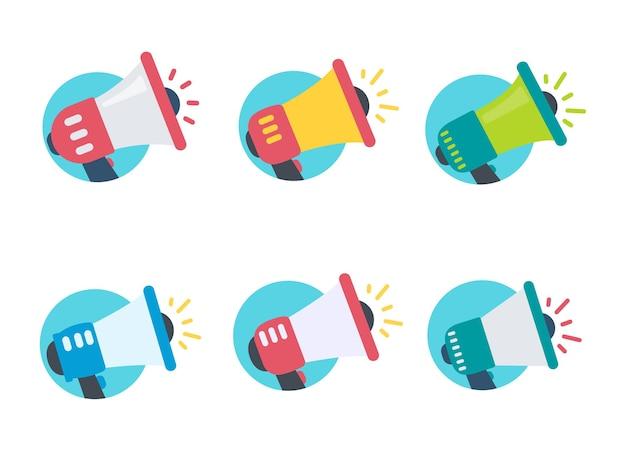 Megafone de vetor. um megafone que grita bem alto o alerta sobre novidades com descontos especiais.