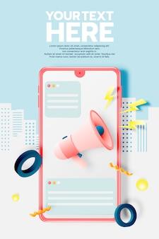 Megafone e telefone móvel para banner de venda
