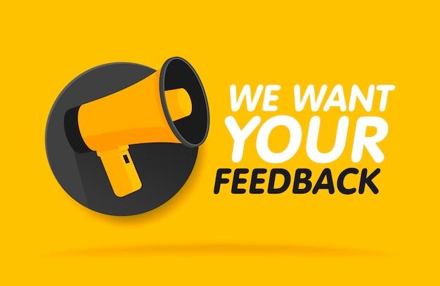 Megafone em fundo redondo. queremos seu feedback na bolha. modelo de banner de ilustração.