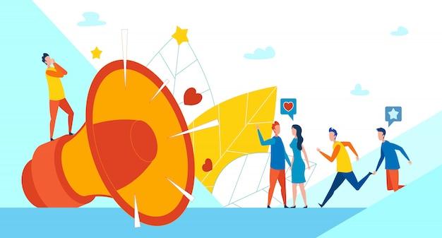 Megafone enorme e marketing social de promoção