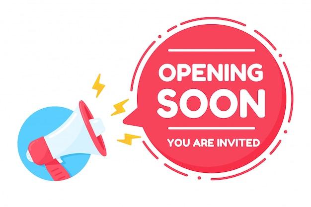Megafone gritando alto anúncio aberto em breve você está convidado