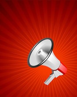 Megafone moderno na ilustração de fundo vermelho