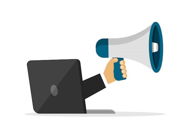 Megafone na mão. de um laptop. trabalho remoto. alto-falante em estilo cartoon. para anúncio.