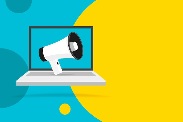 Megafone na tela do laptop. fundo do círculo de cores. balão vazio. ilustração.