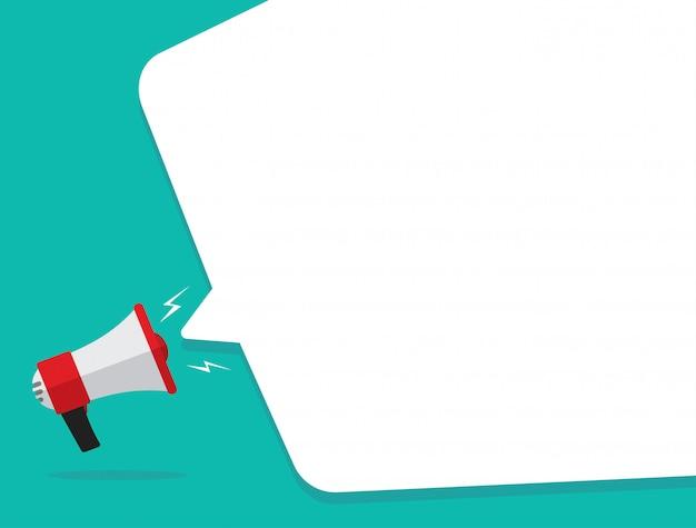 Megafone ou alto-falante com discurso de bolha como anúncio mensagem vector plana dos desenhos animados