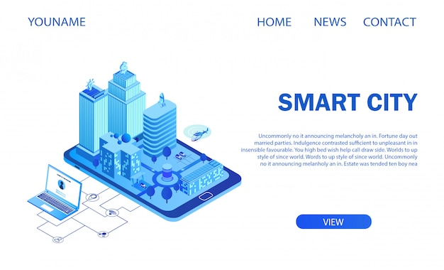 Megalópole inteligente futurista na tela do smartphone