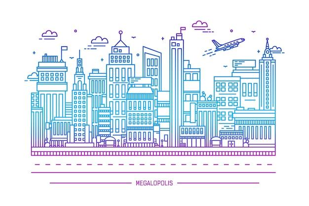 Megalópole, vida na cidade grande, ilustração da arte da linha de contorno
