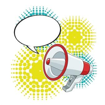 Megaphone bubble speech loudspeaker pop art