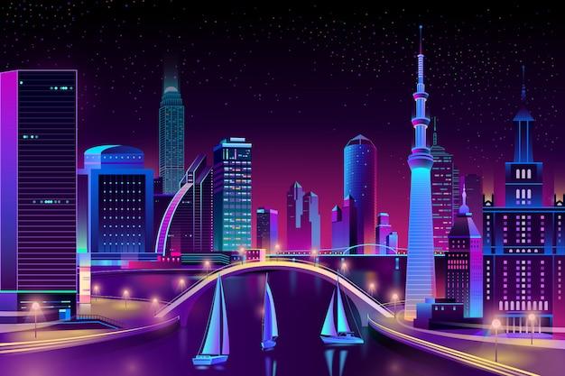 Megapolis de néon na água