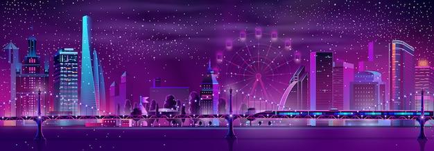 Megapolis de vetor com trem de velocidade, roda gigante