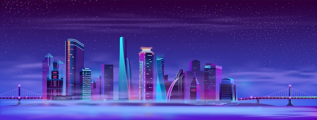 Megapolis enevoado de vetor entre pontes articuladas, ilha
