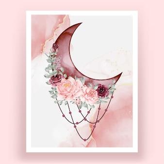 Meia aquarela com rosa rosa e flor bordô