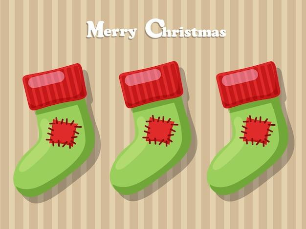 Meia de feliz natal isolada no fundo. feliz ano novo e elemento de decoração. ilustração vetorial.