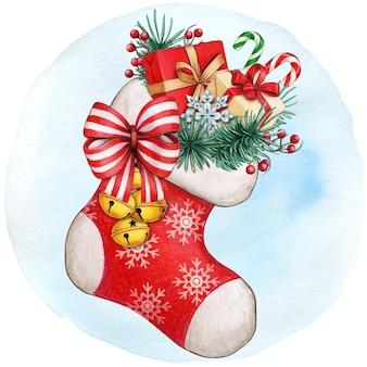 Meia de natal desenhada à mão em aquarela cheia de presentes e guloseimas