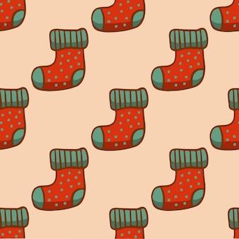 Meia de natal padrão de fundo social media post ilustração em vetor decoração de natal